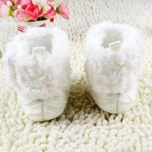 ABWE Best Sale  Infant Baby Crochet/Knit Fleece Boots Toddler Girl Wool Snow Crib Shoes Booties-white L