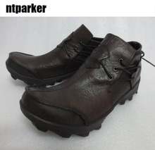 ntparker 2017 man's boots first layer of cowhide low-top shoes genuine leather personality male boots casual shoes man
