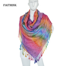 [FAITHINK] Fashion Novelty Colorful Women Winter Pashmina Scarf Rose Printed Long Foulard Femme Bufandas Party Gift Ponchos(China)