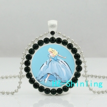 New Cinderella and Her Glass Shoe Necklace The Crystal Shoes Crystal Pendant Jewelry Ball Chain Necklaces Silver(China)