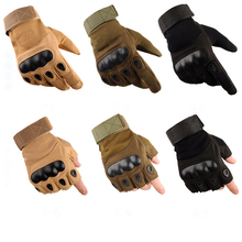 New OK Brand Wear Military Tactical Army Full(Half) Finger Airsoft Combat Carbon Hard Knuckle Guard Leather Gloves Free Shipping(China)