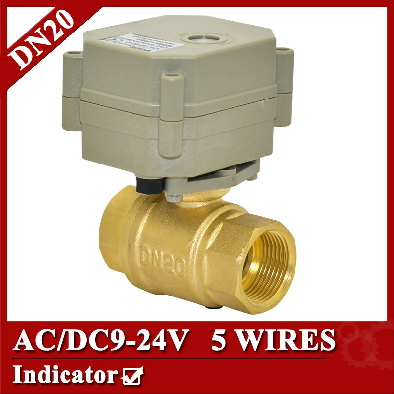 3/4 Electric Valve AC/DC9-24V BSP/NPT brass motorized valve 5 wire 1.0Mpa 2Nm  for water heating water automatic control<br>