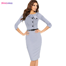 HANZANGL Womens Elegant Dress Peter Pan Collar Belted Buttons Work Office Party Sheath Bodycon Dress Women O140920(China)