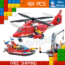 404pcs New City Fire Helicopter Boat Sea Rescue 905 Large Model Building Blocks Response Unit Children Toys Compatible with Lego