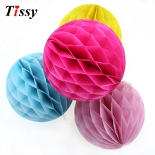 "1PC 4""(10cm) DIY Colorful Tissue Paper Honeycomb Ball Pompoms Wedding/ Birthday Party Decoration Baby Shower Party Supplies(China)"