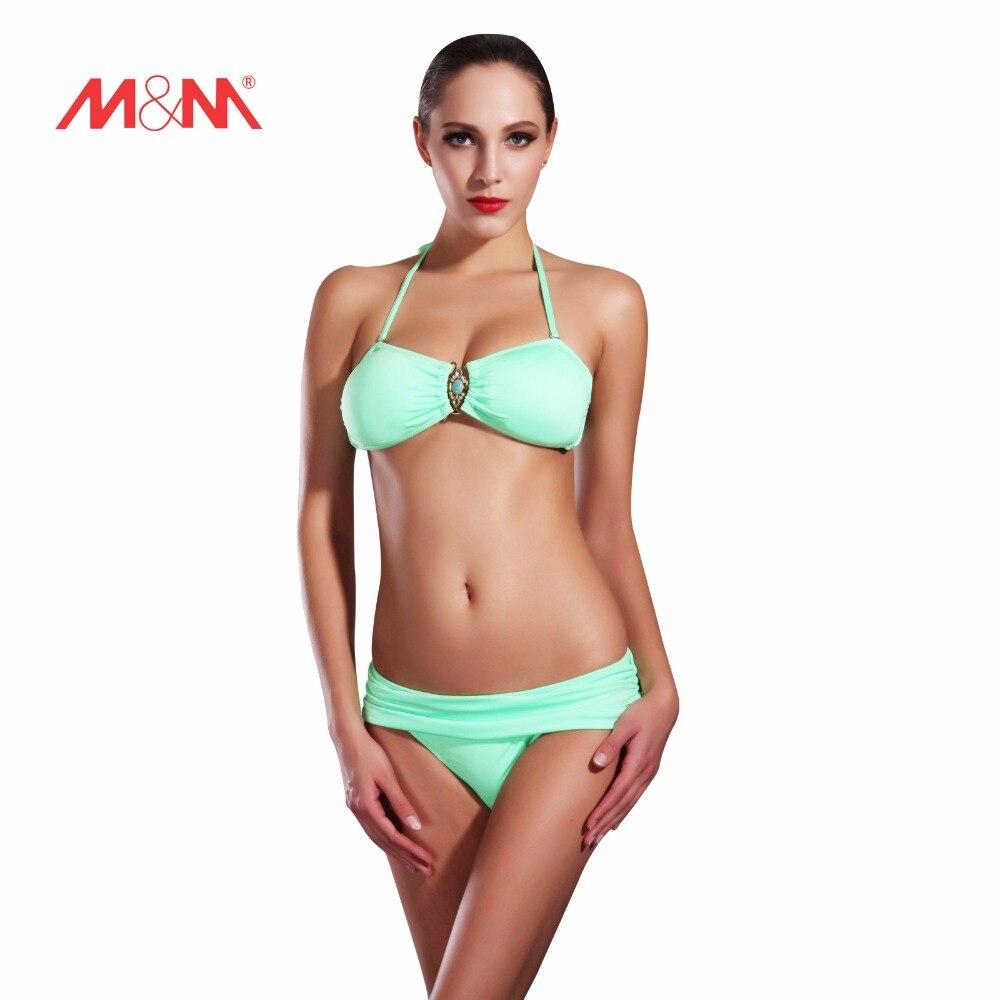 2016 Vintage Push Up Sexy Bathing Suit Solid Color Bright Bikini Swimsuit Bikini Set Biquini Maillot De Bain Swimwear SAKJ1620<br>