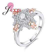 JEXXI New Arrival Cubic Zirconia with 4 Skull Head Design Rings 925 Sterling Silver for Women Wedding Finger Jewelry(China)