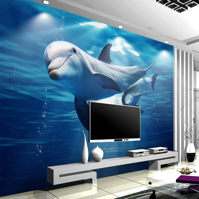 3D Mural Custom Kids Wallpaper For Walls Undersea World Dolphin Mother And Child Living Room Childrens Bedroom Wall Paper Mural<br><br>Aliexpress