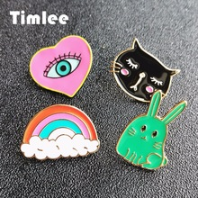 Timlee X277Cute Rabbit Enamel Pins Cat Evil Eye Alloy Brooch Pins,Fashion Jewelry Wholesale