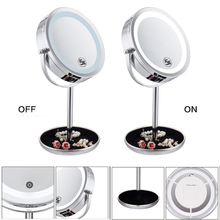 7 Inch 5x Magnifying Mirror Brightness Adjustable Touch Screen Makeup Mirror with Storage Dish Dual 2 Sided Cosmetic LED Mirror