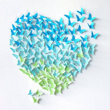 Hot 40pcs wedding deocoration paper butterfly showcase shop background wall mariage party decoration supplies stickers,W4026