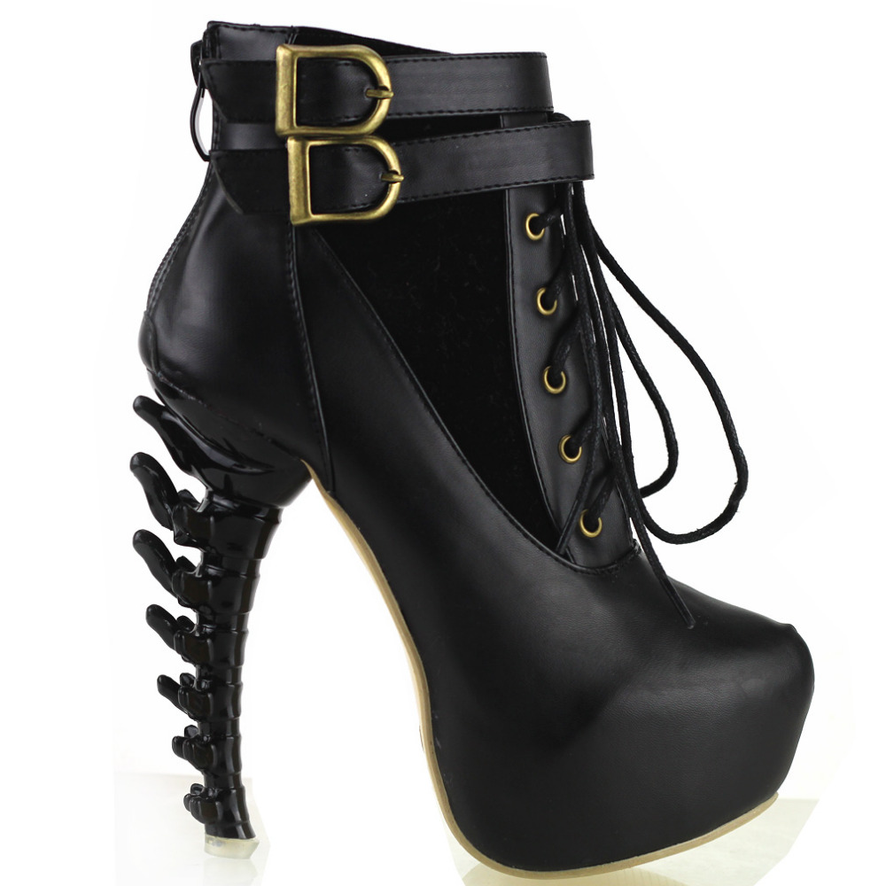 LF40601 Punk Lace Up Buckle High-top Bone High Heel Platform Ankle Boots<br>