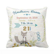 Custom Birth Stats Baby Boy Woodland Creatures Fox Throw Pillow Cover Home Decorative Cotton Polyester Cushion Covers Baby Gift