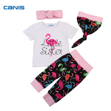 4Pcs Hot Sale Baby Cotton Clothes Set Newborn Kids Baby Girls T-shirt Tops+Long Pants+Hat+Headband 2017 New Outfit Clothes Set(China)