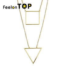 New Inspiration Design  Multi Chain Necklace Geometric Triangle Square Pendant Necklace Simple fashion all-match Necklace