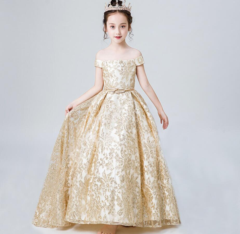 champagne flower girls dresses shoulderless menina tulle girls dress kids ball gowns fancy first communion dress for girlsHW2265