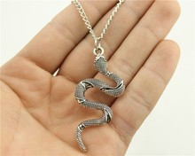 WYSIWYG  fashion antique silver tone 53*23mm snake pendant necklace, 70cm chain long necklace