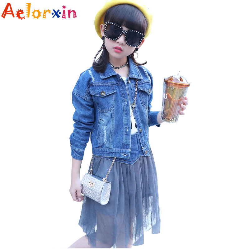Children Clothing Sets Spring Cotton Girls Clothing Sets Fashion High Quality Denim Coat &amp; Skirts 2Pcs Kids Clothing For Girls<br>