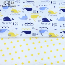 50*160cm 2pcs/lot nordic wind blue whales yellow dots 100% cotton twill cloth DIY for bedding cushions handwork quliting fabric(China)