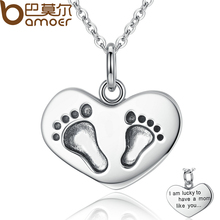 BAMOER 925 Sterling Silver Engrave Lucky To have A Mom Like You Baby Feet Pendant Necklaces Fine Jewelry Mother Gift SCN067(China)