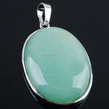 Free shipping Natural Aventurine Gem Stone Oval Silver Plated Healing Reiki Chakra Pendant Bead 1PCS TN2016(China)