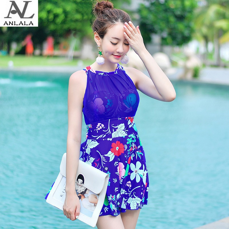 ANLALA Steel rope gather together Was thin  Skirt style Flat angle one-piece swimsuit<br>