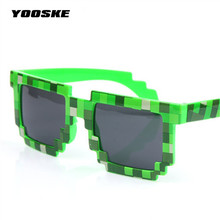 YOOSKE Sunglasses Men Thug Life Brand Designer Men Women's 8 Bits Pixel Retro Sunglasses Female Male Mosaic Sun Glasses