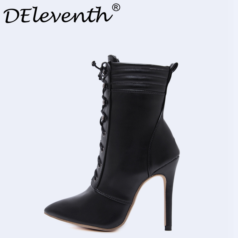Sexy Women Ankle Boots High Heels Pointed Toe Spring Boots With Fur Woman Shoes Stiletto High Heels Brand Designer Booties Black<br>