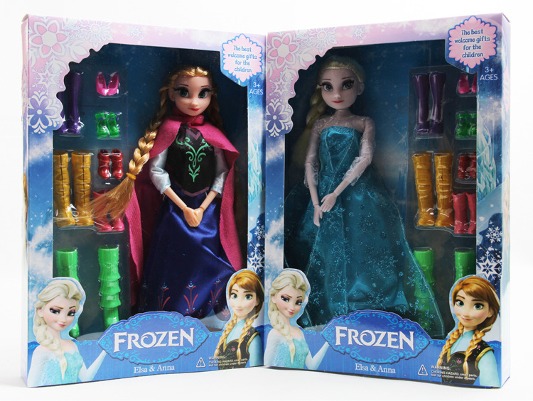 Disney Toys New Arrival Frozen Toys For Girls  Elsa Anna 12 joint Movable Shoe Accessories Dolls Toys Juguetes<br><br>Aliexpress