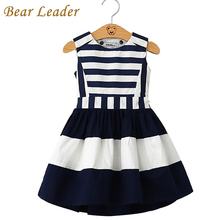Bear Leader Military Style Brand Girls Dress 2016 Summer Dress Girls Navy Wind Back Hollow Out Stripe Splicing Sundress Dress