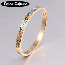 Enamel Bracelet Bangles Gold-color Stainless Steel Bangle Opened for Women Jewelry Bracelet Top Quality Factory Price