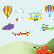% Cartoon Airplane and Hot Air Balloons Removable Wall sticker Vinyl Decals For Kids Room Boys Home Decoration Mural Wallpaper(China)