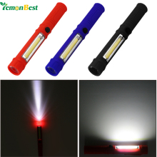 LemonBest Magnetic Portable Ultra Bright COB Pen Shape Light Flashlight Torch Work Lamp 2 Mode with Clip