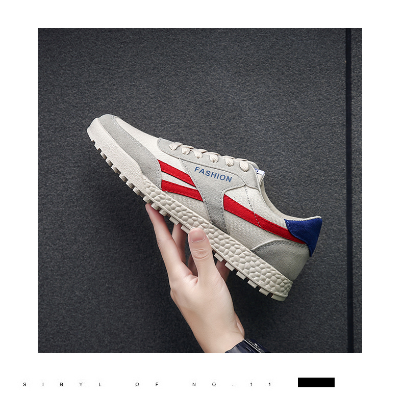 New Fashion Casual Flat Vulcanize Shoes For Men Breathable Lace-up Shoes Footwear Striped Shoes Flax And Cattle Cross Stitching 24 Online shopping Bangladesh