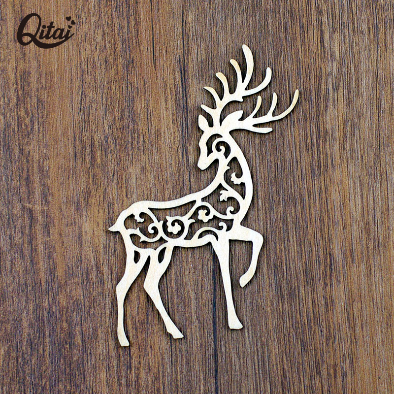 QITAI 12 Pcs/Lot Cute Animal Shape Wooden Decor Laser Cut Wooden Cirrus Hallow Deer Wedding Home Shop Decoration Gift WF285(China (Mainland))