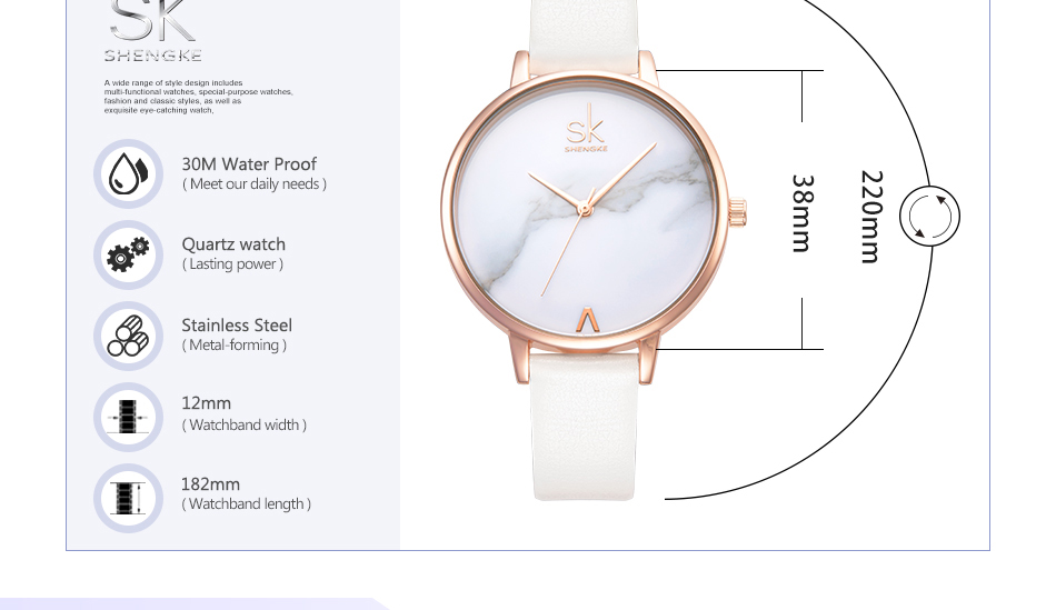 Shengke Top Brand Fashion Ladies Watches Leather Female Quartz Watch Women Thin Casual Strap Watch Reloj Mujer Marble Dial SK 24