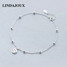 LINDAJOUX 925 Sterling Silver Fashion Smiling Face Charm Anklet For Women S925 Ankle Bracelet Adjustable Length(China)