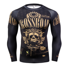 Fashion Long Sleeves Men's T-shirts 3D Prints Tight Skin Compression Shirts for Men MMA Rashguard Male Body Building Top Fitness(China)