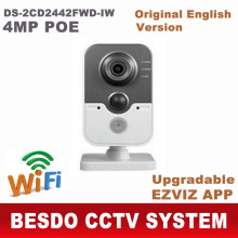 English version PIR wifi wi-fi wireless 4MP 1080P IP network cube camera with upgradable firmware Support cloud DS-2CD2442FWD-IW