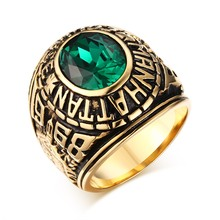 Fashion Mens Rings Stainless Steel Manhattan College Ring with Green CZ Crystal Vintage Men Bike Fashion Jewelry Graduation Gift(China)