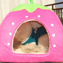 Dog Bed Strawberry Design Dog House Bed For Animals Indoor House Mat Kennel Nest Cage Goods For Pets(China)