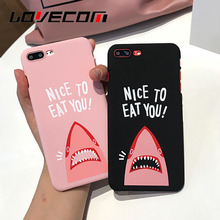 "LOVECOM Phone Case For iPhone 6 6S 7 Plus Cartoon Shark Image ""NICE TO EAT YOU"" Letter Print Hard PC Phone Back Cover Cases"