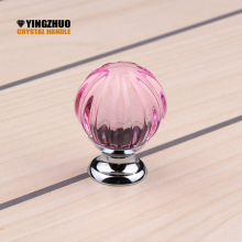30mm 10pcs Pink Pumpkin Ball Design Clear Crystal Glass Knobs Cupboard Drawer Pull Kitchen Cabinet Wardrobe Handles Hardware