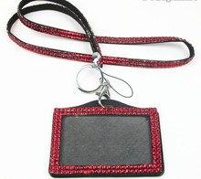 Free shipping 100 pcs/lot Rhinestone Bling Lanyard with Horizontal Lined ID Badge Holder and Key Chain