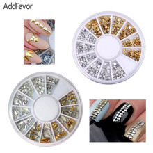 AddFavor 100Pack Gold Silver Colorful Nail Art Decoration Rhinestone Nail Dotting 3D Inlay Metal Rivet Star Rhomb Triangle Stone
