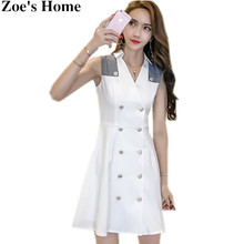 Zoe's Home Summer OL Dress 2017 Women Fashion White Double-Breasted Sleeveless Patchwork Ladies Tank Casual Slim Party Mini Dres