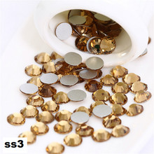 ss3 1440pcs/pack Flat Back Best Crystal Lt Col Topaz ( 3d Nail Art decorations ) Non Hot Fix Glue on rhinestones for nails diy