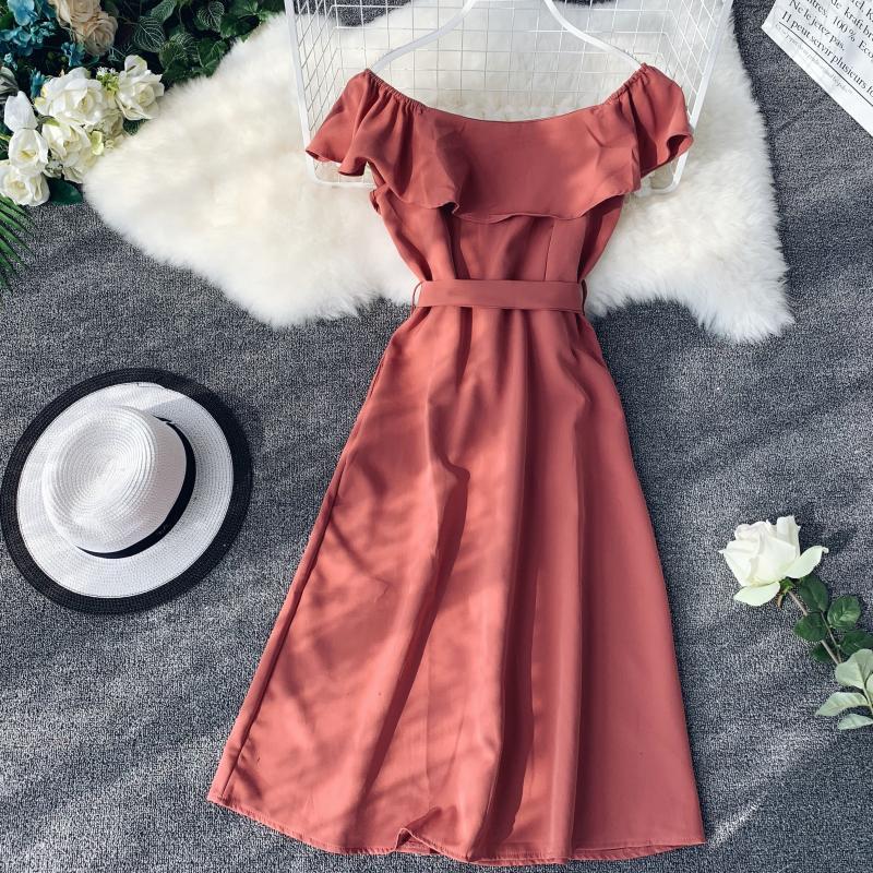 Women White Orange Casual Access Slash Neck Solid Color Single Breasted Vestidos E459 34 Online shopping Bangladesh