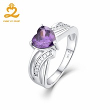 Heart By Heart Rings For Girls Women Fine Luxury Engagement Jewelry Sterling 925 Silver Purple Spinel Female Wedding Finger Ring(China)