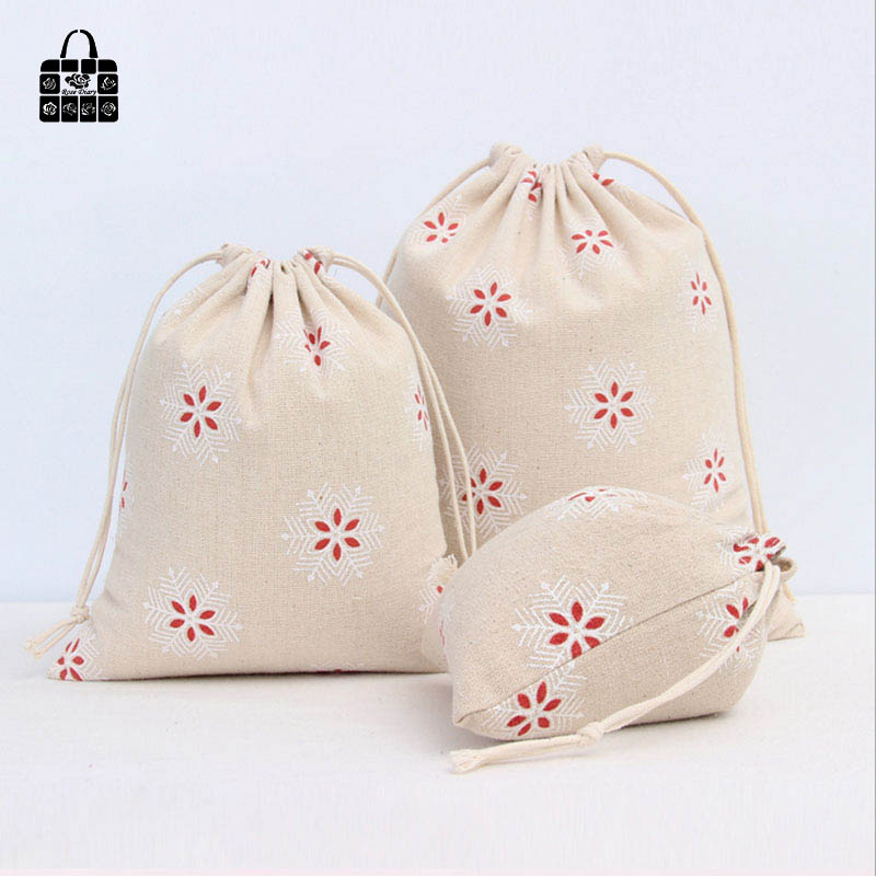1pcs Red snow print 100% cotton canvas dust cloth bag Clothes socks/underwear shoes receive bag home Sundry kids toy storage bag(China)